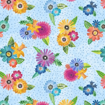 6b92669b0e3 Wilmington Floral Flight by M.J. Merrill 11156 437 Blue Flower Boquets  $10.30/yd PREORDER DUE OCT/NOV '19