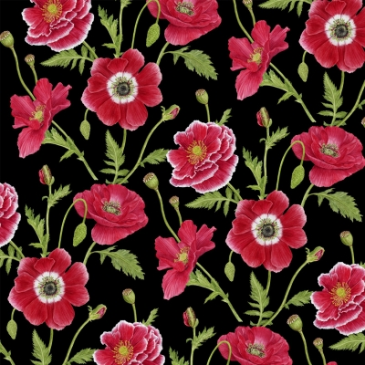 Henry Glass 1191 Poppy Perfection Lady Bugs White Cotton Quilting Fabric By Yard