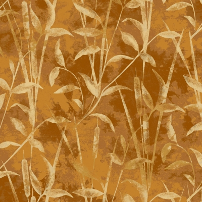 "/""Traditions/"" Print tan on dusty looking brown Fabric by Paintbrush Studio"