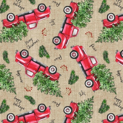 1f944771cf355 David Textiles Christmas 1348 9C Vintage Red Truck  7.99 yd PRERODER DUE  AUG SEPT  19