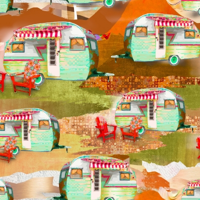 American Road Trip Van Camper Great Outdoors Handcrafted Cotton Valance