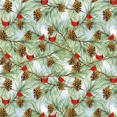 20 THE CARDINAL RULE SNOW SNOWFLAKES HOLLY PINE CONES CHRISTMAS FABRIC NO