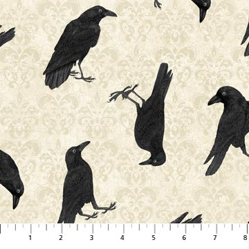 f03a0ed2 Northcott Raven's Claw by Andrea Tachiera 2863 12 Cream Crows $10.50/yd
