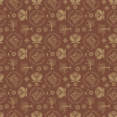 """/""""Traditions/"""" Print tan on dusty looking brown Fabric by Paintbrush Studio"""