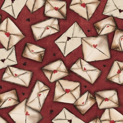 8f9029f6d85 Quilting Treasures Letters From the Heart by Santoro 24994 M Cranberry  Envelopes $10.20/yd