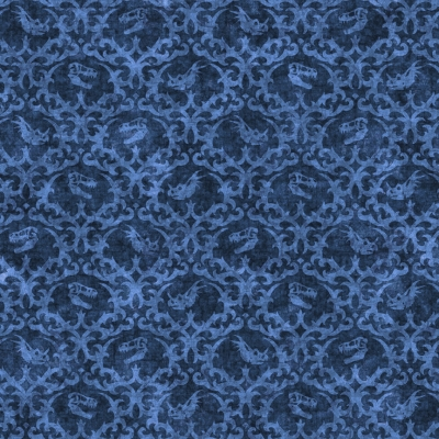 b7841d143e6 QT Fabrics Lost World by Dan Morris 26801 B Blue Dino Damask $10.20/yd