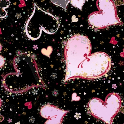 c31113bbf41f4 QT Fabrics With Love by Turnowsky 26889 J Black Large Hearts $10.70/yd