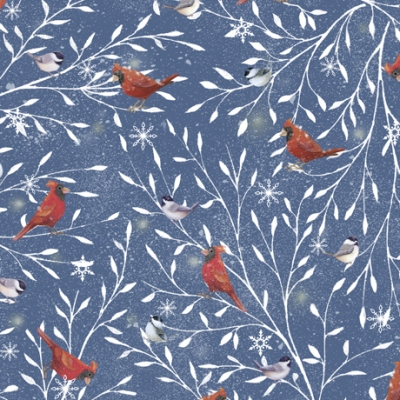 Woodland Wonder Sarah Summers Quilting Treasures BTY Birds Snowy Branches Brown