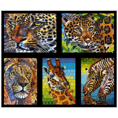 By the Yard Quilting Treasures New Glass Menagerie More Available 1 Yard Mosaic Warm Colors Tile Stripe