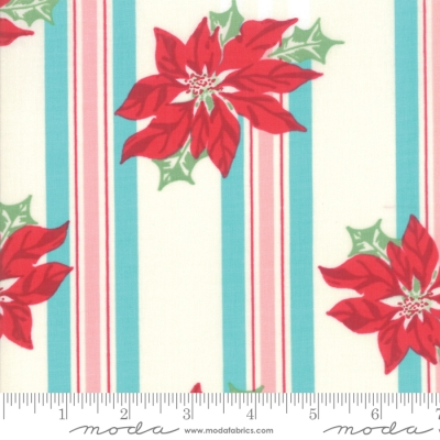 6a6e120c3 Moda Sweet Christmas by Urban Chiks 31150 21 Turquoise Poinsettia on Stripe  $10.60/yd