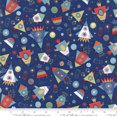 b2c960de Moda Stellar Baby by Abi Hall 35322 15 Dk Blue Space Ships $9.99/yd
