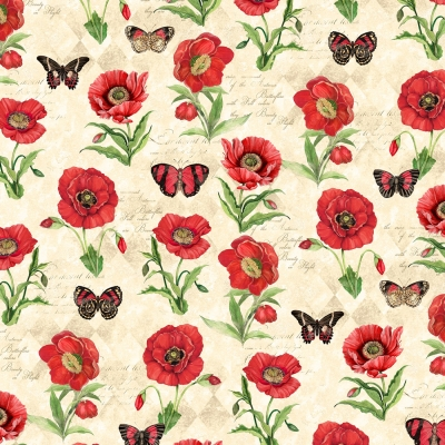"""100/% Cotton Fabric /""""Spirit of the Season/"""" by Marcus Brothers Cream w//Red Plant"""