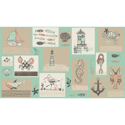 9b84d30c6b0 3 Wishes Fabric Give Me The Sea 13755 Multi  6.95 panel