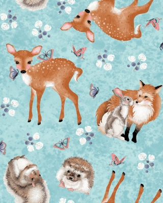 Elizabeth/'s Studio Magic Forest Animals Toss Blue 100/% cotton fabric by the yard