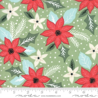 aade95bf7b Moda Little Tree by Lella Boutique 5091 12 Lt Green Poinsettia  10.60 yd  PREORDER DUE MAY JUNE  19