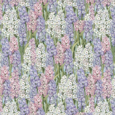 Cotton Fabric-Primrose Path Purple Hyacinths allover with white on bloomds