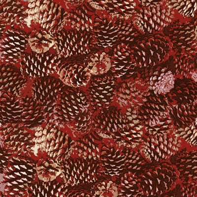 06ff53bcf3b Henry Glass Moose Lodge 6619 88 Red Packed Pinecones  9.80 yd