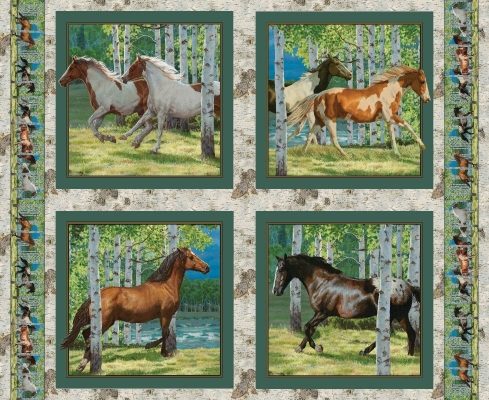 Ivy green blendsSewingCraftQuilting Horse and Foal Art Fabric Panel