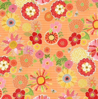 b31f6cfa9a4 Wilmington Sing Your Song by Anne Rowan 68459 837 Orange Packed Floral  $10.30/yd