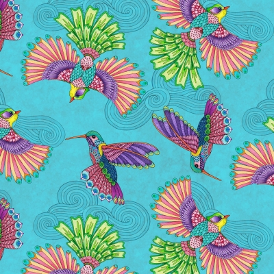 cb6a9a3459c5 Wilmington Rainbow Flight by Hello Angel 77641 436 Teal Birds $10.30/yd  PREORDER DUE JULY/AUG '19
