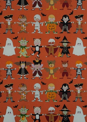Alexander Henry Halloween - 7780 B Orange Haunted House You + Me: Scary! $10.10/ yd
