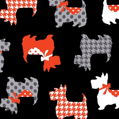 Scottie Couture Dogs Pearl Heart Black Cotton Fabric Kanvas Studio By The Yard
