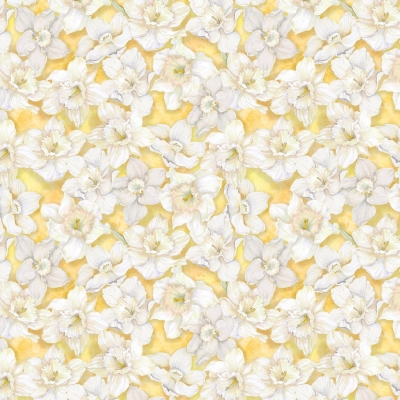 VISCOSE Fabric Floral Ivory Pink /& Blue Flowers 17377