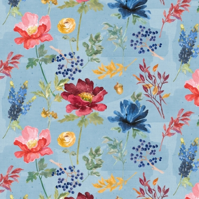 Vintage Blue Wild Flower Floral Poppy Cotton Fabric ~ Dolls Quilts Projects