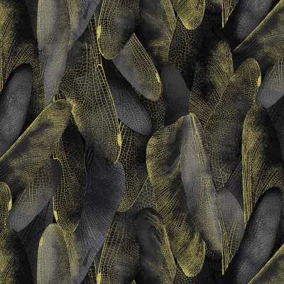 Benartex Dragonfly Dance by Kanvas 8501M 99 Black/Charcoal Gilded Wings w/ Metallic $10.20/yd