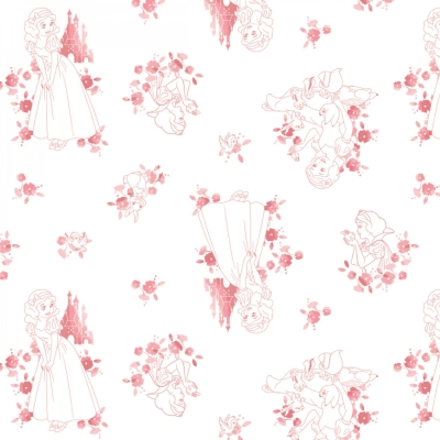Disney Forever Princess Snow White in Wreathes Coral Cotton Fabric Fat Quarter