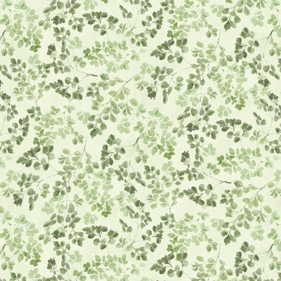 Wallpaper Tan Faux Finish With Word Script and Green Leaves Garden