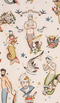SEASHELLS FROM 100/% COTTON FABRIC ATLANTIS FROM ALEXANDER HENRY