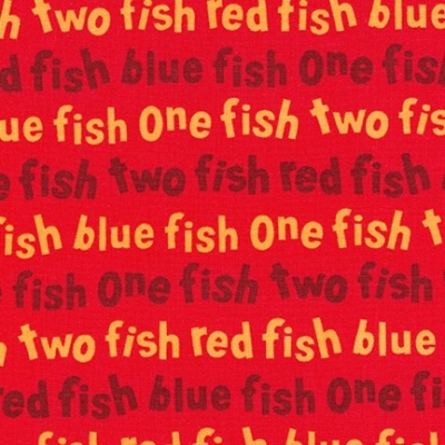 3f453ea69233ea Robert Kaufman One Fish Two Fish by Dr. Seuss Enterprises ADE 16330 3 Red  Words  9.99 yd
