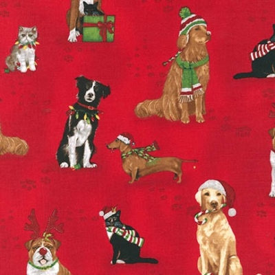 9ef2d9b56769 Robert Kaufman Holly Jolly Christmas by Mary Lake-Thompson 15177 223 Red  Cats   Dogs  9.50  yd