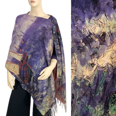 New Design soft  Forest Tree design with feathered edge scarf wrap Shawl lilac