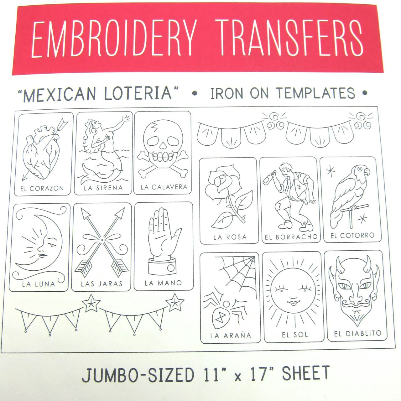 26c53baf2a2 Sublime Stitching-The BIG Sheet- MEXICAN LOTERIA Embroidery Transfers  $9.95/each