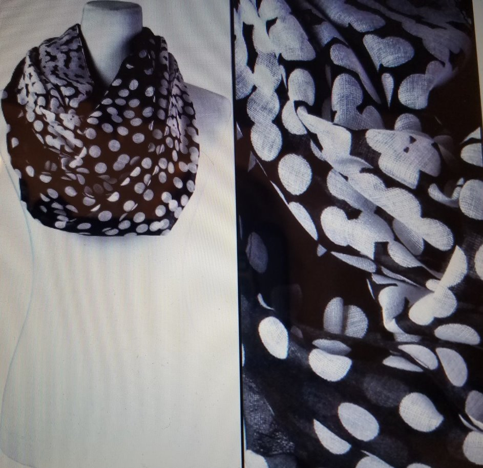 d18bd28361b4 Magic Scarf Infinity Scarf Black Fading Dot $6.00/each