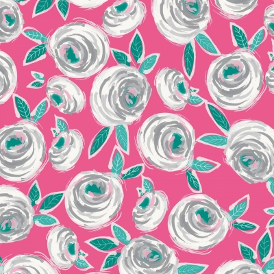 FQ BRIGHT COUNTRY GINGHAM CHECK VINTAGE ROSE FLOWERS FABRIC KITSCH PINK RED