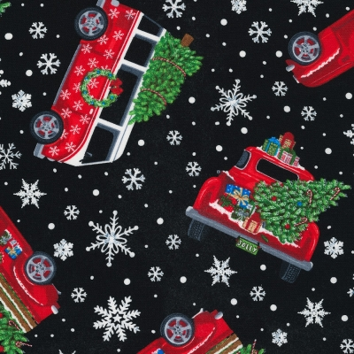 ade1ec924f89c6 Timeless Treasures Let it Snow C6887 Black Red Truck Toss $10.50/yd