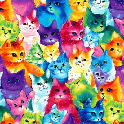 Cute Packed Furry Cats Allover premium 100/% Cotton Fabric by the Yard
