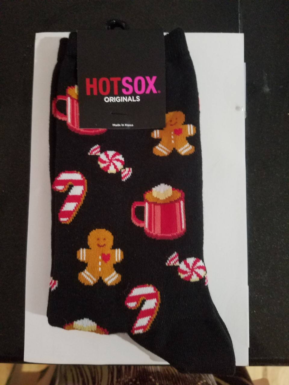 af795c49b47093 Hot Sox Black Hot Cocoa Peppermints and Gingerbread Men Socks Size 9-11  Ladies Socks HO002542  6.00 pair