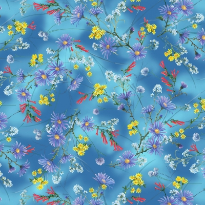 birds butterflies lightweight Tropical floral fabric hummingbirds floaty