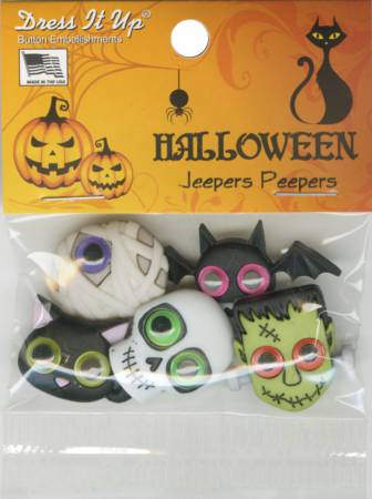 Dress it up Buttons - Halloween JEEPERS CREEPERS 9487 5ct Button Pack  JBT9487  2.50 per package 7fbe9fc290