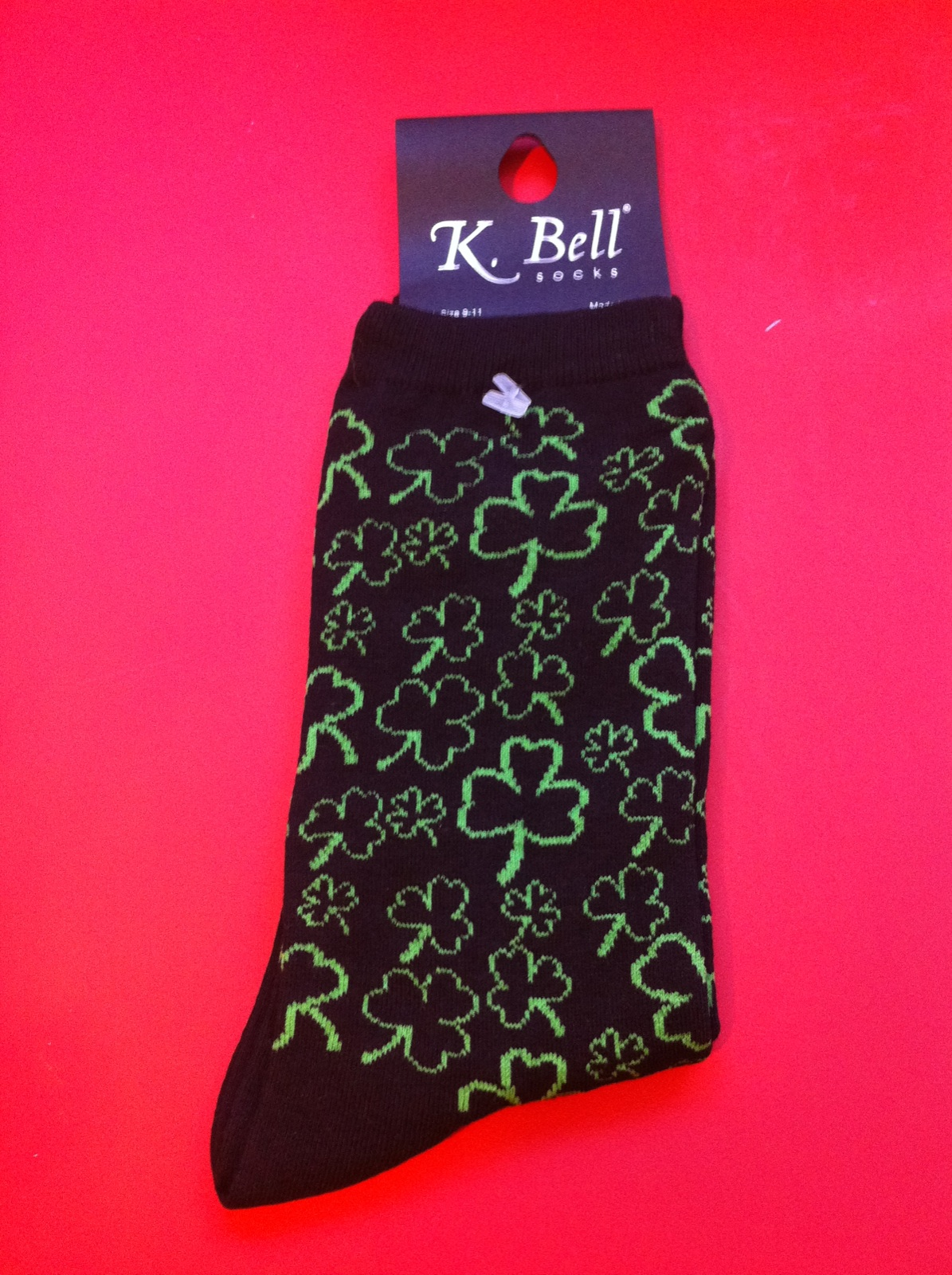 745b1c2d37bedf K Bell Socks 1456 Black Green Shamrock Outline on Black Ladies Socks   5.99 4.99 pair