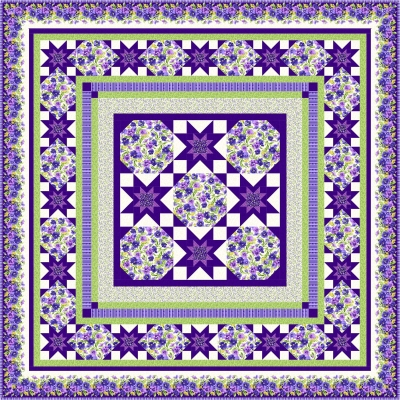 Kims Cause Collection Berries /& Blossoms Metro Twist Quilt Kit Maywood Studio