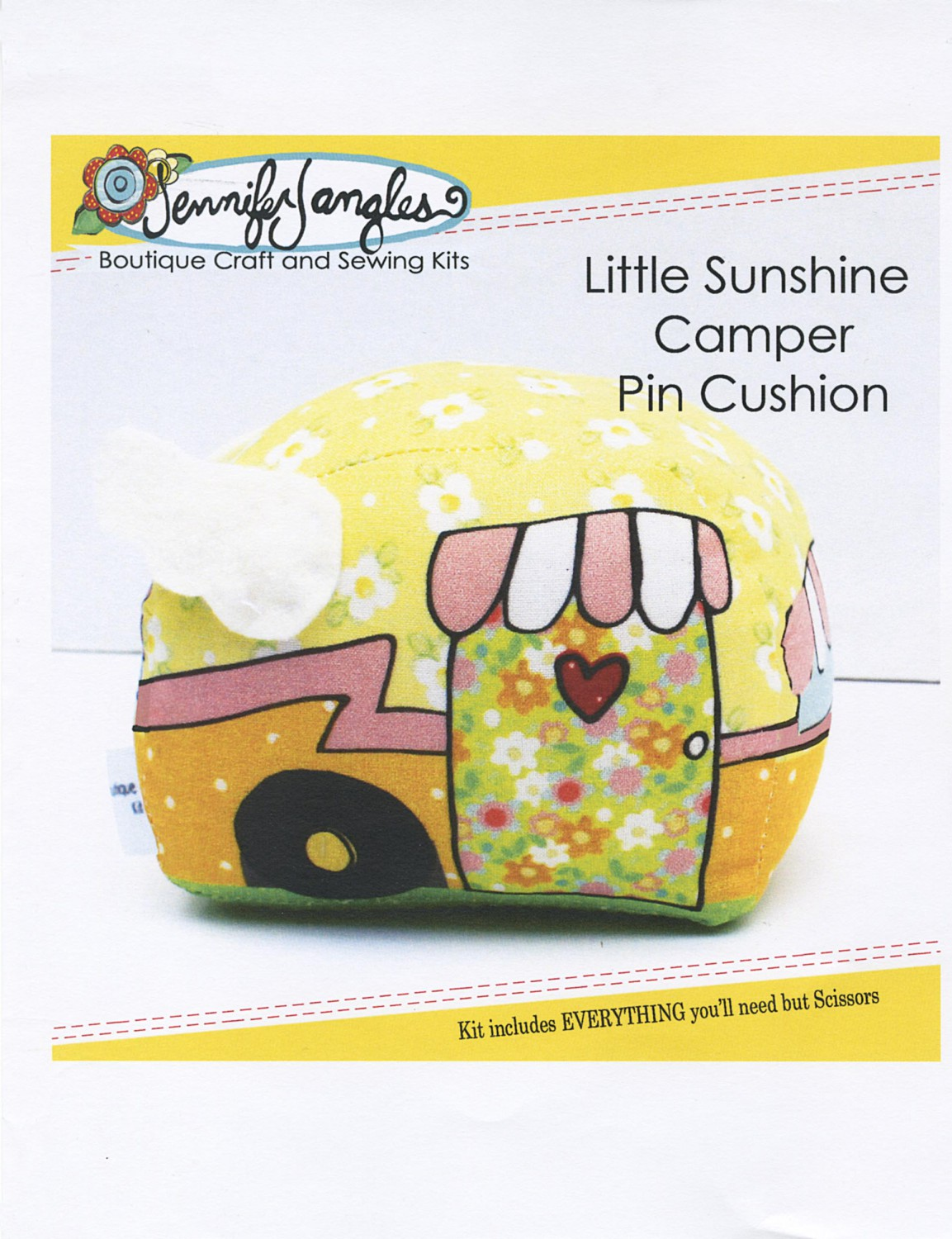 0017cf7a Little Sunshine Camper Pin Cushion Kit KT-5342 by Jennifer Jangles -  Includes everything you need but scissors!