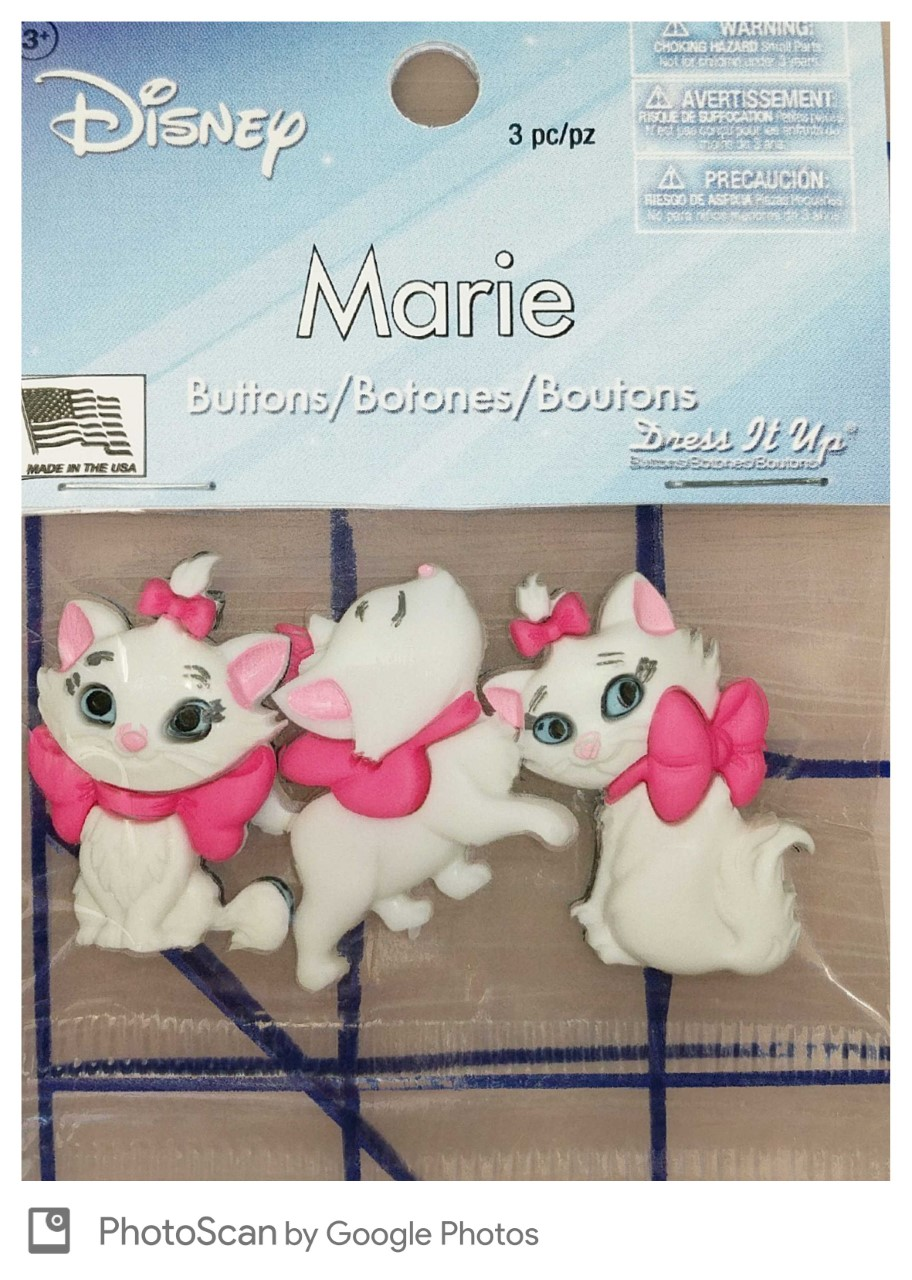 f8db5046bff Dress It Up - Disney - Marie the Cat Buttons  5.99 each package