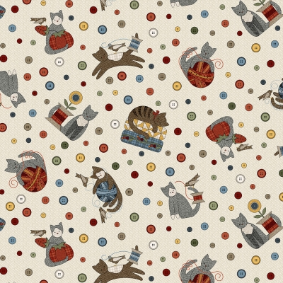 fecbde57d656 Maywood Sew Purrfect FLANNEL by Bonnie Sullivan MASF 8316 EW Natural Kitten    Button Toss  10.90 yd