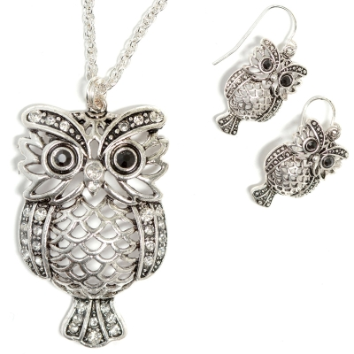 """Owl Hooter Bird Animal LoverJewelry Square Pendant Charm Necklace 24/"""" Chain NEW"""