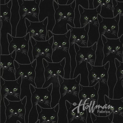 63685c8278a Hoffman Full Moon P4347 213S Onyx Silver Cat Outlines  10.30 yd